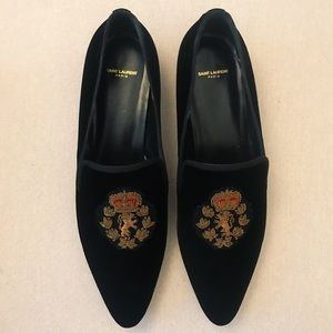Saint Laurent Deven embroidered velvet loafers